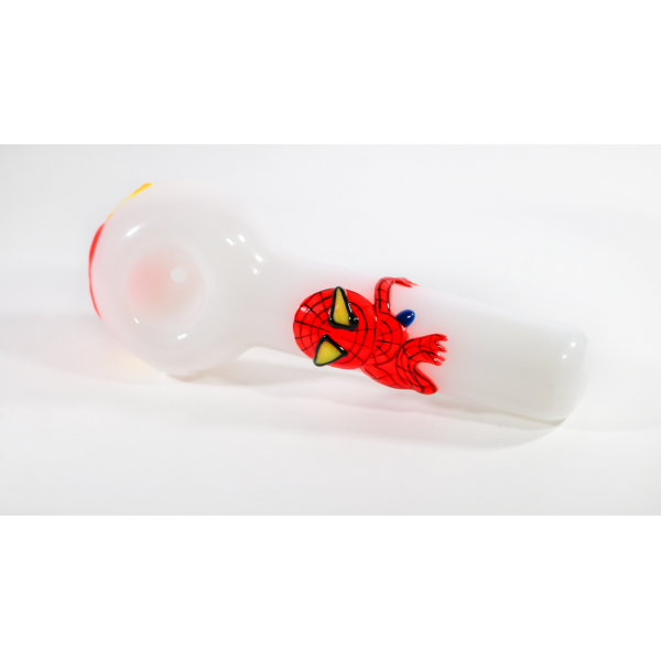 GLASS HAND PIPE WITH ACRYLIC PAINT CHARACTER