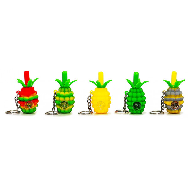 SILICONE HANDPIPE KEY CHAIN PINEAPPLE ASST.