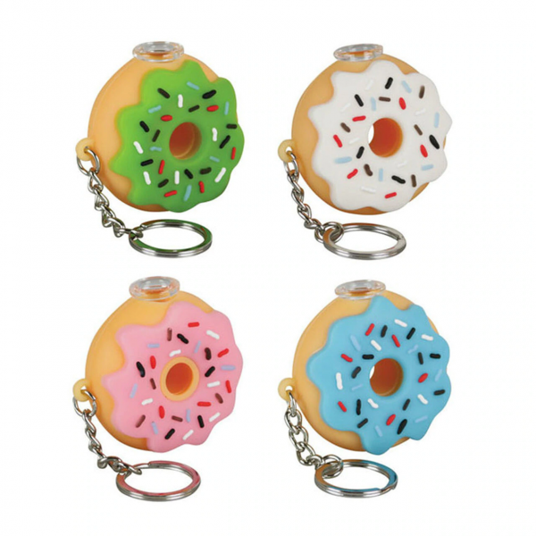 SILICONE HAND PIPE DONUT KEYCHAIN - Asst.