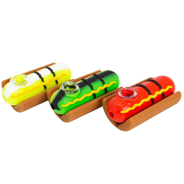 "SILICONE HAND PIPE 3.8"" HOT DOG"