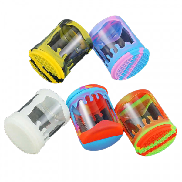 SILICONE JAR WITH GLASS WINDOW SHORT