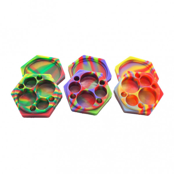 SILICONE JAR HEXAGON WITH 4 COMPARTMENTS