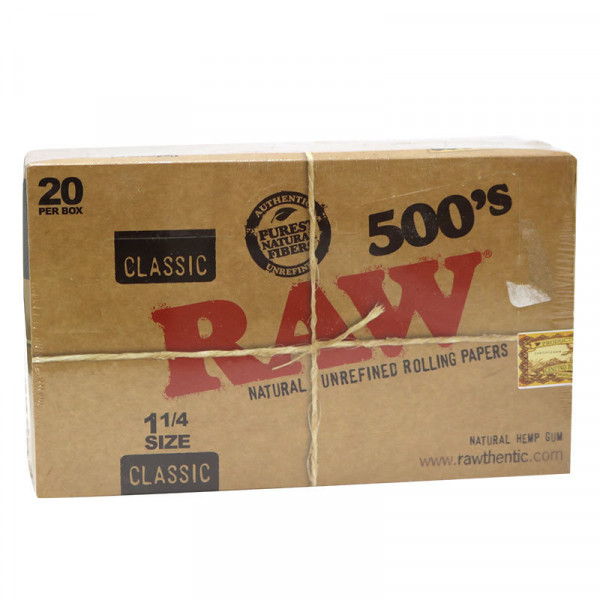 RAW Classic Rolling Papers 1 1/4 500's - 20 Pack